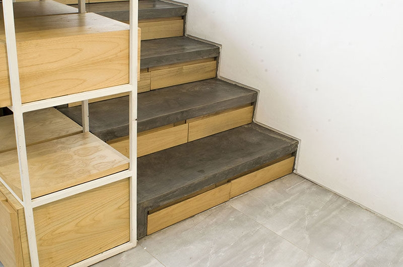 This Concrete And Wood Staircase Has Hidden Storage | Wood Stairs Over Concrete | Stair Stringers | Cement | Concrete Slab | Patio | Build