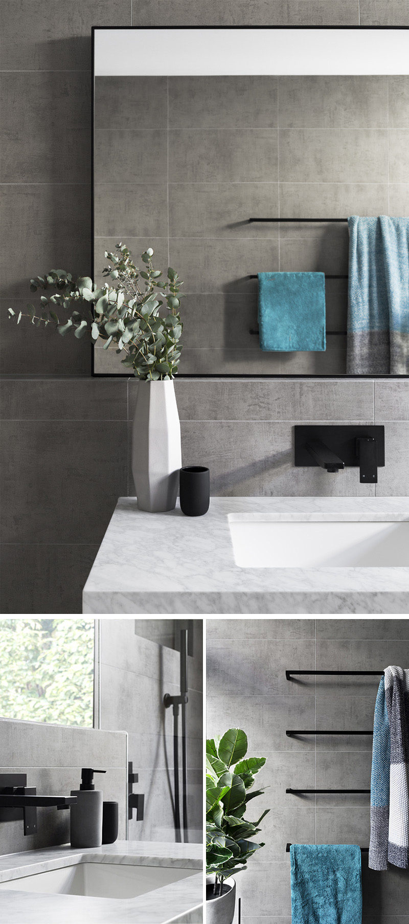 Matte Black Accents Add Sophistication To This Grey And White Bathroom  CONTEMPORIST