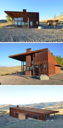 Modern Houses Weathering Steel Exteriors