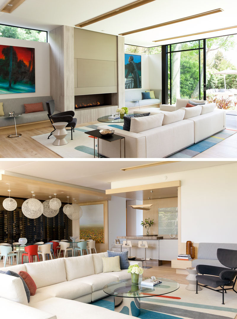 modern chairs living room accent pieces large windows let plenty of light inside this new house in ...