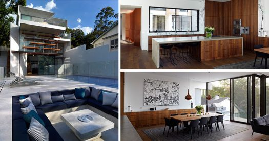 Rolf Ockert Design has completed a house in Sydney, Australia, that has many layers of living spaces hidden behind a minimal street facade.