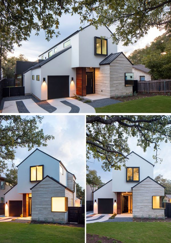 Contemporary House With Peaked Roofs Arrives Street In Austin Texas Contemporist