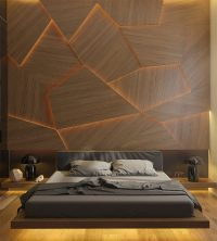 This Bedroom Has A Geometric Back Lit Wood Accent Wall ...