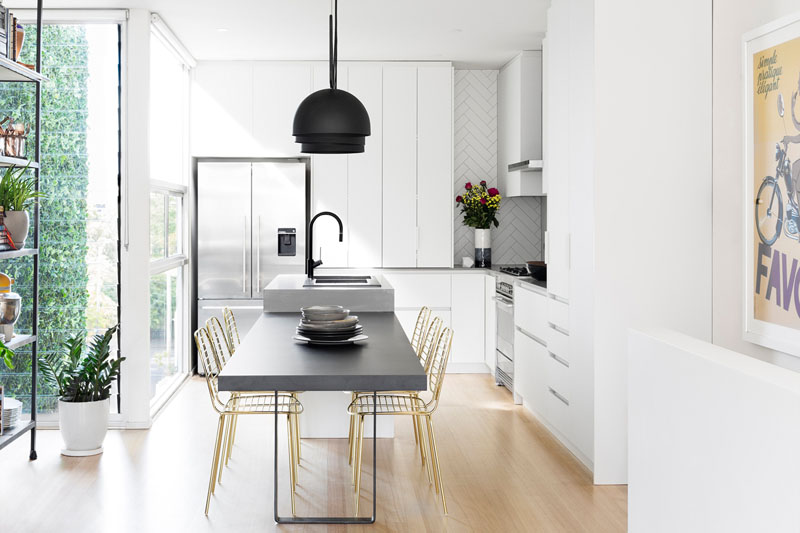 gold kitchen retro appliances this modern update received touches of black and using a simple color scheme white number