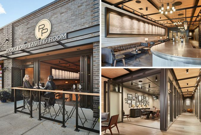 SkB Architects have designed a tasting room at the The Rocky Pond Winery, that features a 40 foot long bar made from pewter.