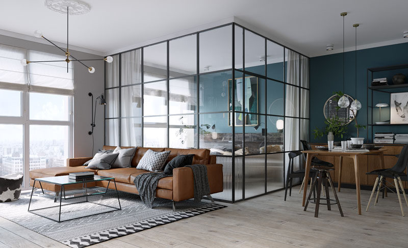 Black Framed Glass Walls Separate The Bedroom In This Kiev