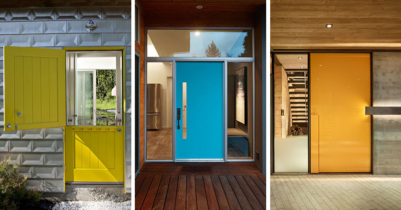 These modern front doors are unique and painted in different vibrant colors that make the houses stand out.
