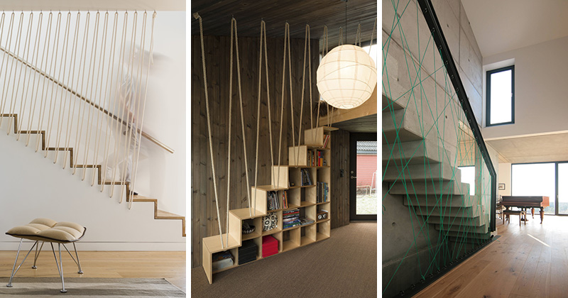 These modern sets of stairs feature various types of rope that are used as safety railings.