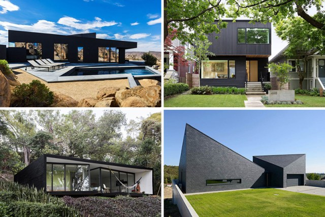 This collection of modern houses all have bold black exteriors.