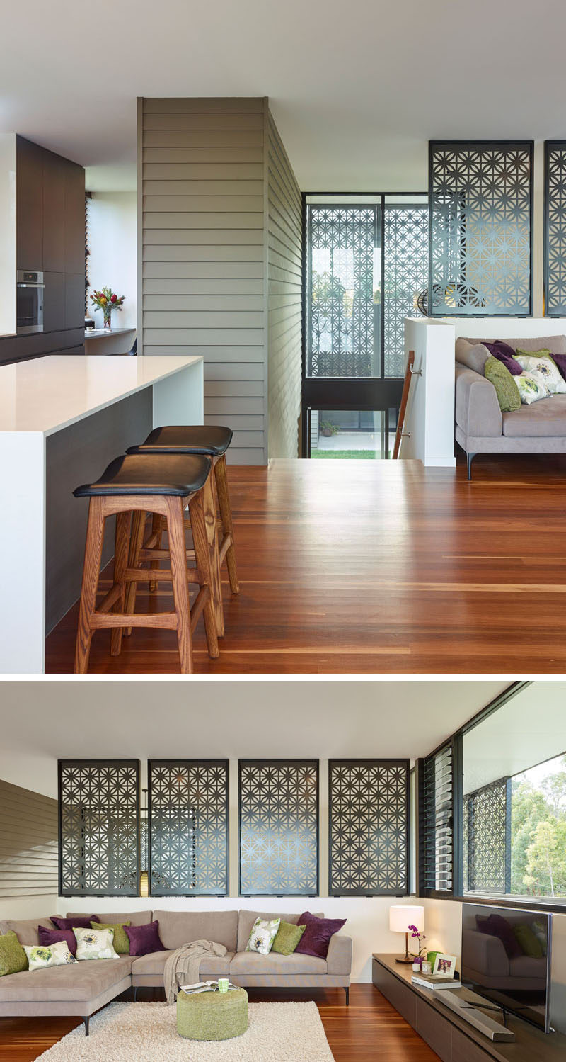 decorative screens for living rooms apartment room decorating ideas with tv laser cut are displayed throughout this the exterior siding guides you up stairs from courtyard where arrive to an open floor plan panels in create