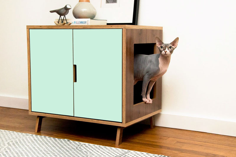 These MidCentury Modern Inspired Cabinets Hide A Cats