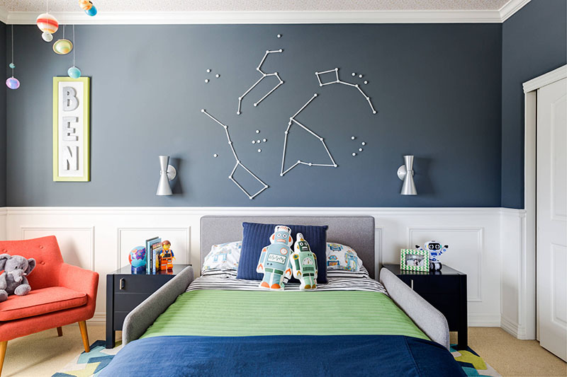 This Fun Boys Bedroom Has A Decorative Space Theme