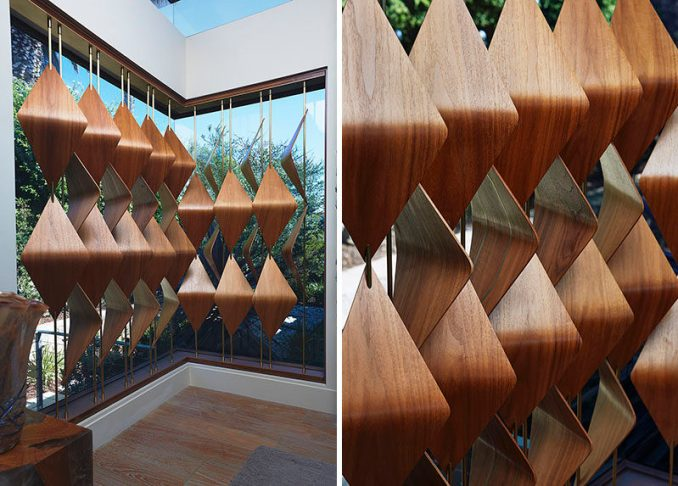 Elish Warlop Design Studio have created a line of modern wood window shades that are 3 dimensional tessellations and are made from walnut.