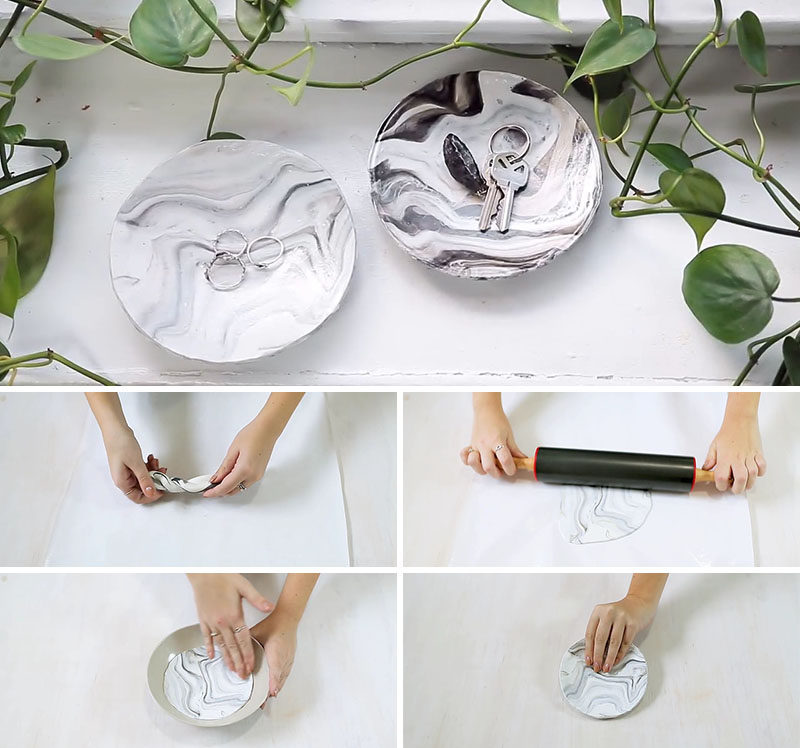 White, grey and black polymer clay, a rolling pin, an oven safe bowl and some sealant are the basics needed to complete this DIY faux marble decorative bowl.