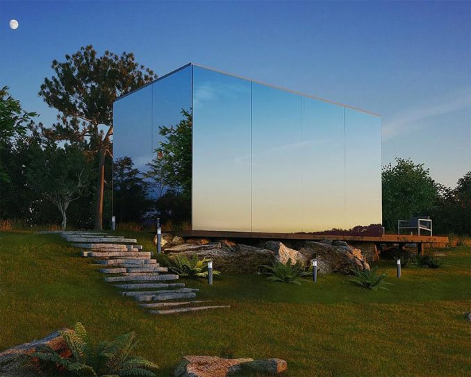 This modern mirrored house is prefabricated and can be installed in 8 hours. Functionality and comfort is the main goal as it is meant for short-term accommodation.