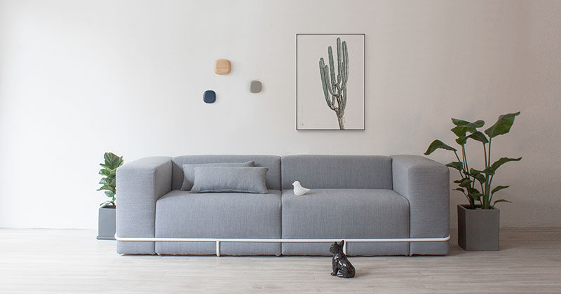 steel frame sofa orthopedic bed mattress a simple metal contains the six cushions that make up this