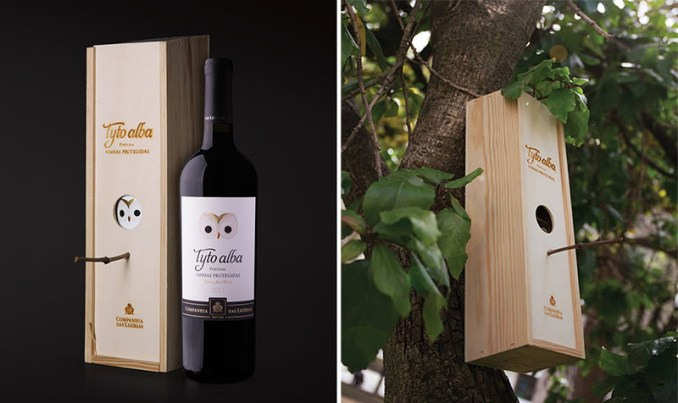 This modern wine bottle packaging features a wooden box, that once the wine is finished, can be transformed into a birdhouse.