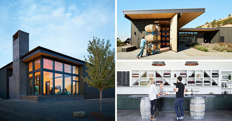 Architecture and design firm goCstudio, have designed the COR Cellars, a winery and tasting room that's tucked away in the hills of Lyle, Washington.