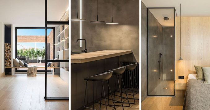 Susanna Cots Interior Design have completed the interiors of a penthouse for a family in Barcelona, Spain, that features plenty of black-framed glass throughout.