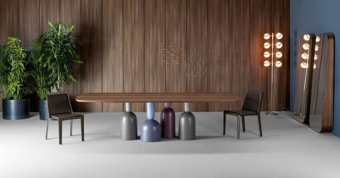 Designer Roberto Paoli has created the COP table for Italian furniture manufacturer Bonaldo, that plays with idea of table top items becoming the base upon which the table surface sits on.