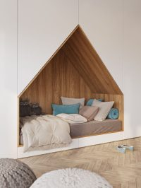 This Bedroom Design For A Teenager Features A Bed Built ...