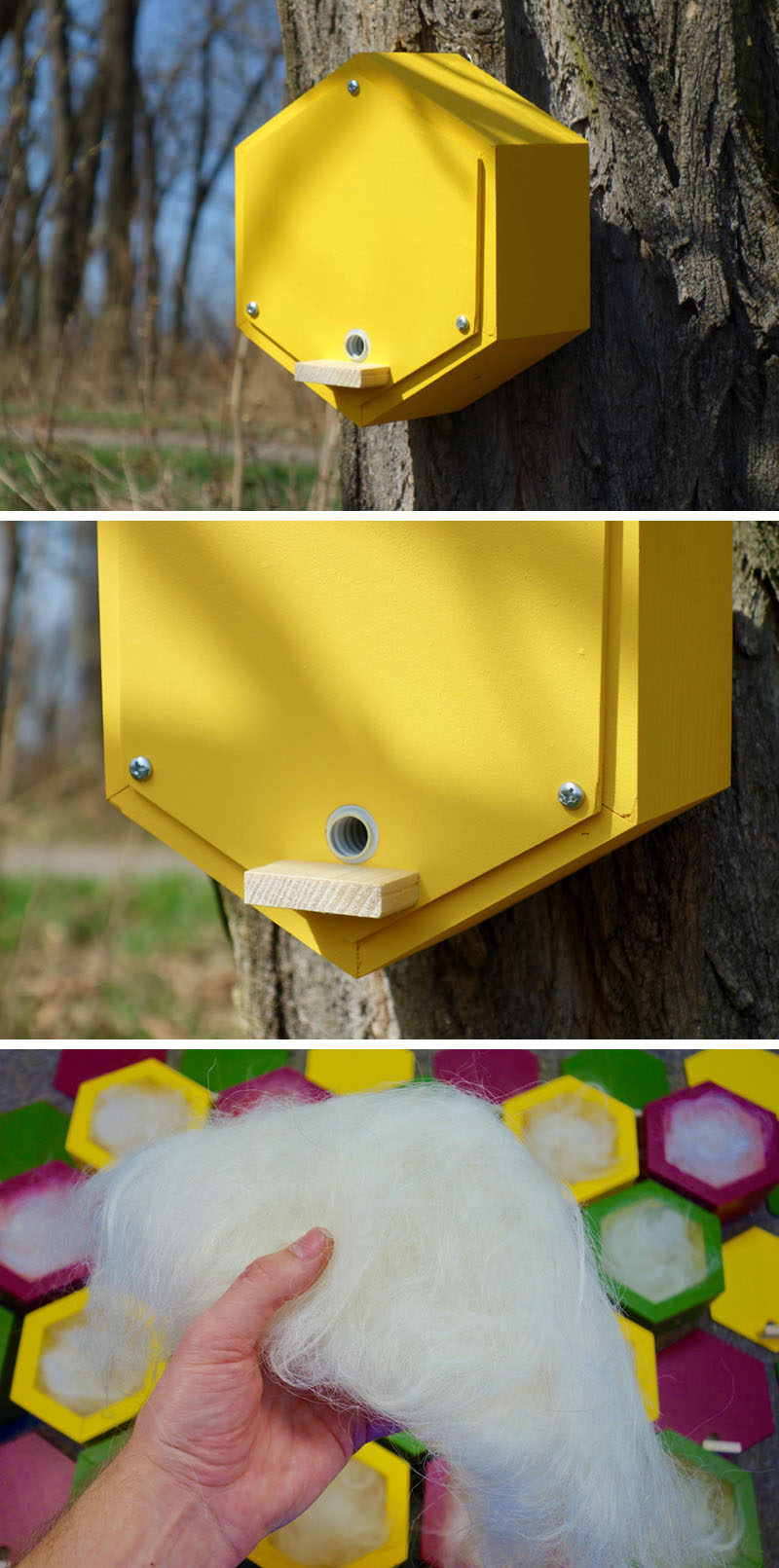 This BumbleBee House has been designed specifically for bumblebees as it has a built-in hallway that leads to an interior filled with wool where the bee can create its home. #BeeHotel #Design #Garden #Bees
