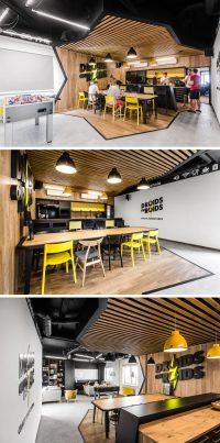 This New Office Interior Uses Wood And Black Frames To ...