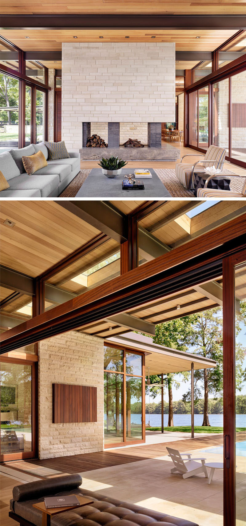 Texas Lakeside House Has An Exterior Of Wood Limestone