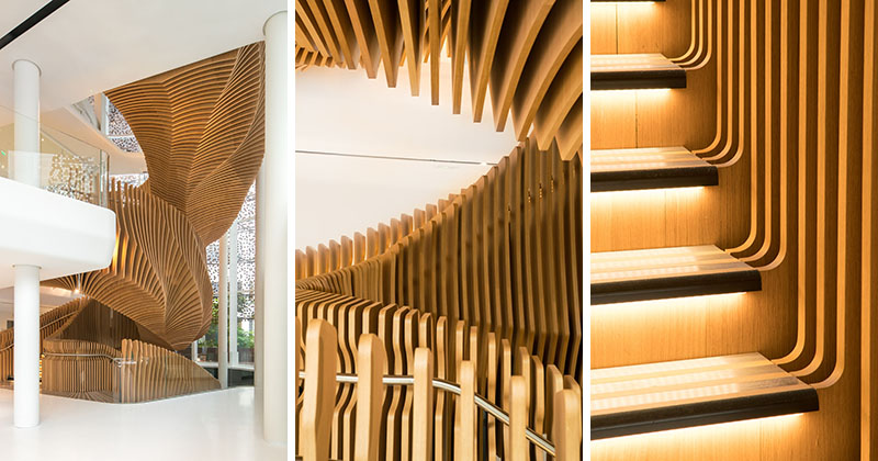 A Snakelike Sculptural Staircase Connects Four Floors Of