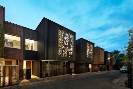 Melbourne Design Studios (MDS) have recently completed a set of six urban townhouses that have either a wood slat or laser cut artistic facade. #Architecture #Art #Facade #LaserCutArt