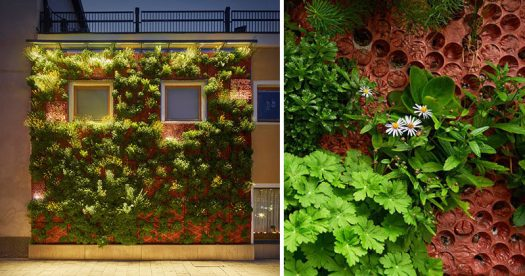 Butong, a Swedish company that creates cast concrete panels, have installed a green wall on a small building in Uppsala. #GreenWall #VerticalGarden #BuildingFacade