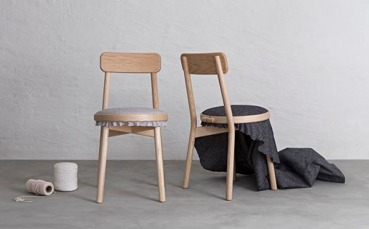 Swedish design firm Stoft Studio, have created the Canvas Chair, a simple wood chair that's been designed with an embroidery frame to highlight the upholstery on the seat. #DiningChair #WoodChair #Design #Furniture