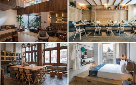 Sam Gelin, owner of Craft Hospitality has launched MADE, his first modern hotel in New York City, that features warm wood accents throughout. #ModernHotel #NYCHotel #MADEHotel #HotelInterior