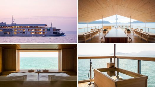 Japanese architect Yasube Horibe has designed a boutique nineteen-room floating hotel named Guntû, that makes its home in the Seto Inland Sea. #FloatingHotel #Japan