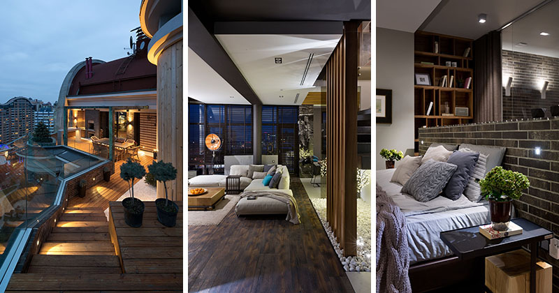 Materials Like Dark Brick Wood And Glass Are Used In The Interior Design Of This Contemporary