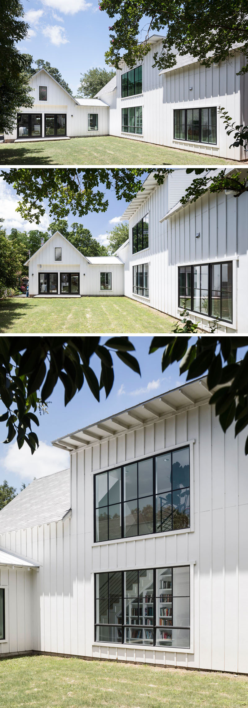The backyard of this contemporary house is a large open space with plenty of grass, while back window frames create a strong contrast against the white exterior of the house. #BlackWindowFrames #Backyard
