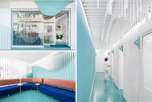 Masquespacio have designed Somriures, a new modern dental clinic in a small town in Spain, that features a sculpture made from 2884 wood strips. #DentalClinic #InteriorDesign