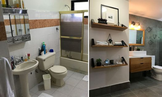 Francis Dominguezfrom EFE Creative Lab, has designed the modern renovation of a bathroom from the 1990's. #BeforeAndAfter #BathroomRemodel #Renovation