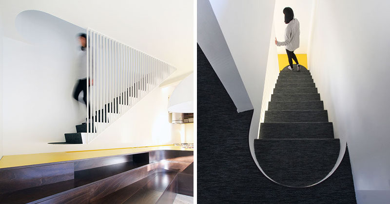 Architect Francesca Perani and Bloomscape Architecture have designed modern stairs that are accessed via the extended kitchen countertop and a built-in bench in the dining area. #Stairs #Staircase