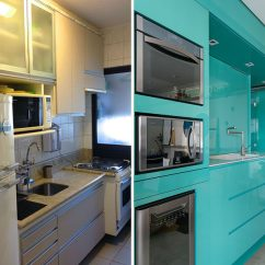 Cream Colored Kitchen Cabinets Door Repair Before & After - A New Bright Blue For This Small ...