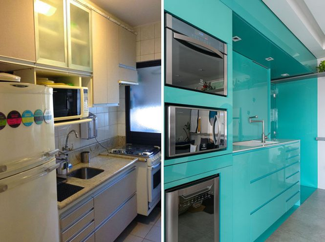 Before After A New Bright Blue Kitchen For This Small Apartment