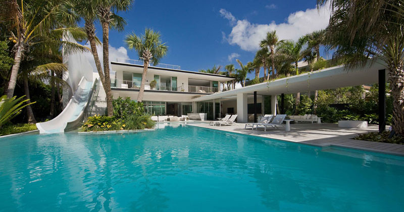 This Home In Miami Was Designed With A Slide To The Pool