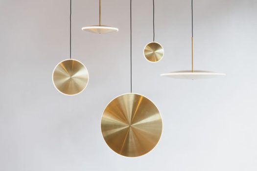 Design studio Graypants have launched their latest collection, 'Chrona', that are a variety of dish pendant lights that can be hung individually or together to make a 'constellation' of lights. #Lighting #Design #ModernPendant #BrassLighting