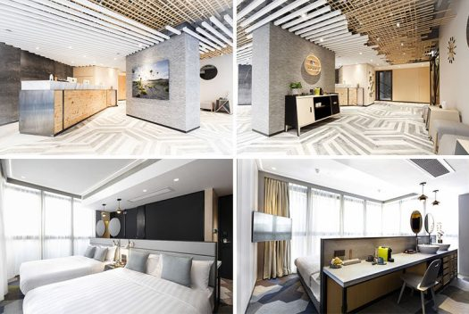 Inspired by tea houses and nature, this modern hotel in Hong Kong uses a mix of wood, shades of grey and white, and concrete for a neutral and calming atmosphere. #ModernHotel #HotelInterior #HotelLobby #InteriorDesign