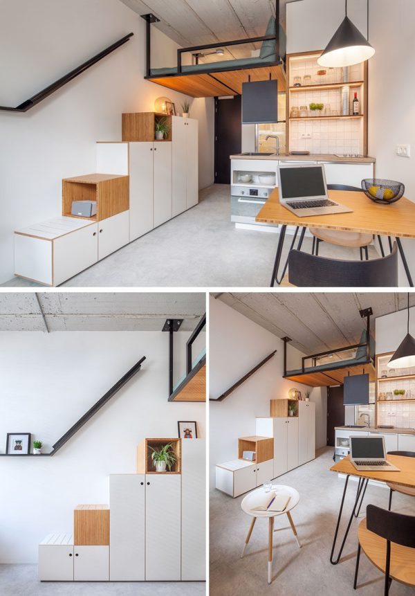 Small Apartment Loft Bed Suspended Ceiling