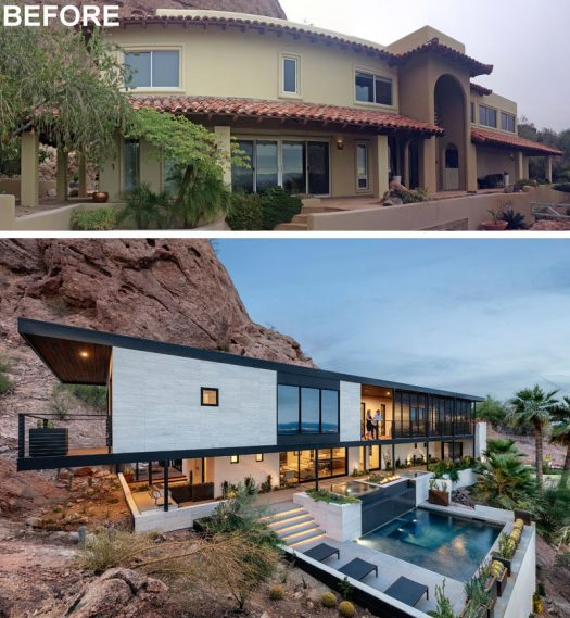 The Ranch Mine have recently transformed a Spanish Colonial Revival style house into the 'Red Rocks' residence, a modern house that sits against the side of Camelback Mountain in Phoenix, Arizona. #Renovation #Architecture #ModernHouse