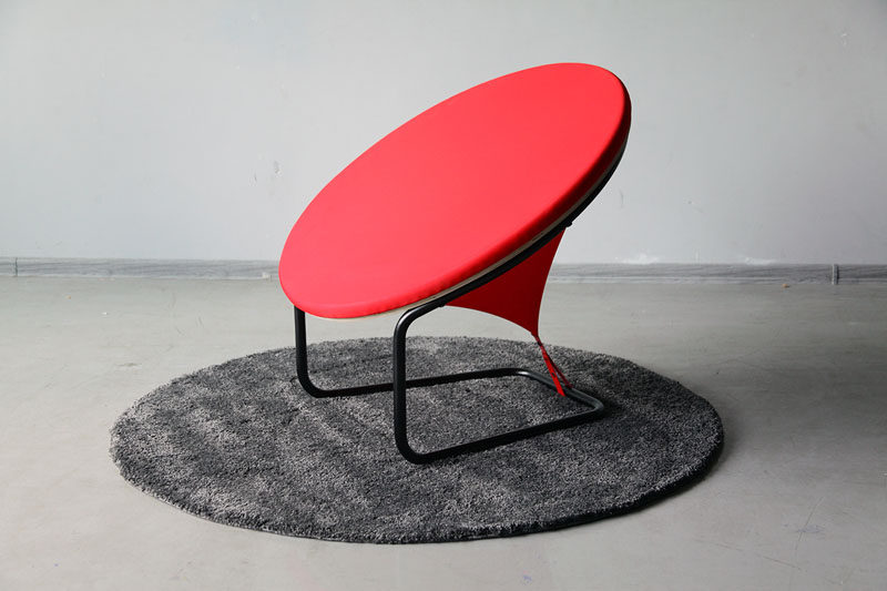 modern armchair design old school lawn chairs gaudute zilyte has designed the reddot contemporist lithuanian designer created a bright red and sculptural