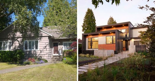 BEFORE + AFTER - ONE SEED Architecture + Interiors have recently completed the transformation of a 1957 bungalow in Vancouver's Oakridge neighbourhood, that was the homeowner's boyhood home and is now where he and his wife are raising their two sons. #HouseRenovation #ModernHouse #Architecture