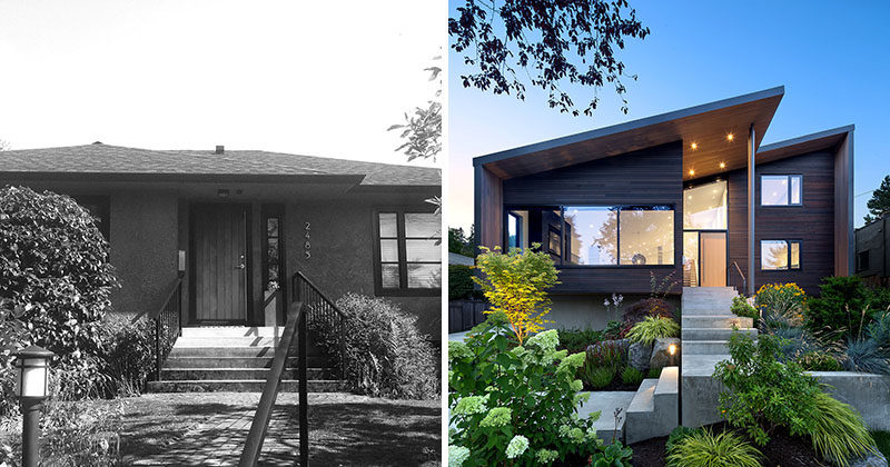 BEFORE + AFTER - Splyce Design together with builder Blackfish Homes, have completed the modern renovation and addition of a 1950's bungalow in West Vancouver, Canada, for a couple and their two children. #Renovation #ModernHouse #Architecture