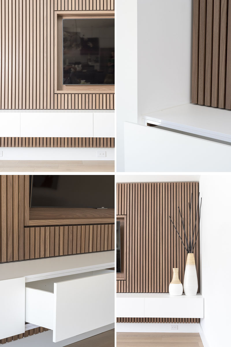 Design Detail  A Wood Slat Accent Wall Surrounds The TV